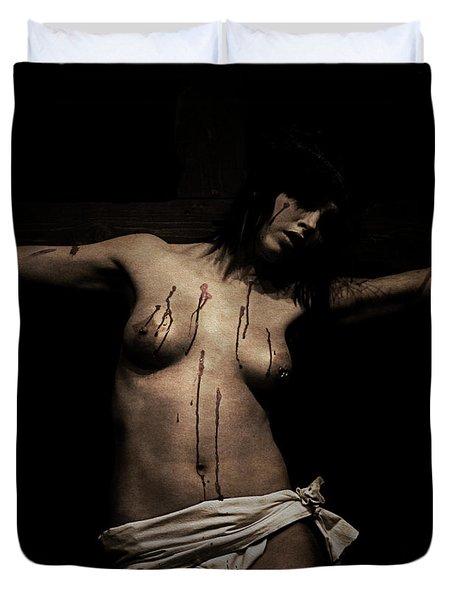 Dark Portrait Of A Female Jesus IIi Duvet Cover