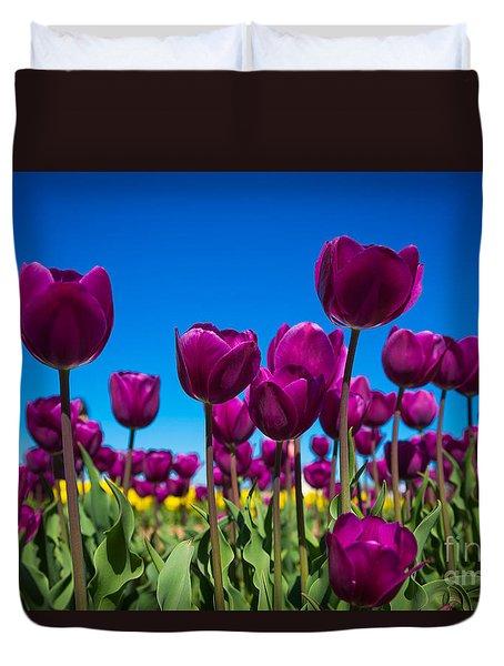 Dark Purple Tulips Duvet Cover