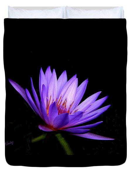 Dark Side Of The Purple Water Lily Duvet Cover