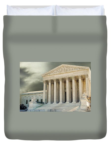 Dark Skies Above Supreme Court Of Justice Duvet Cover by Patricia Hofmeester