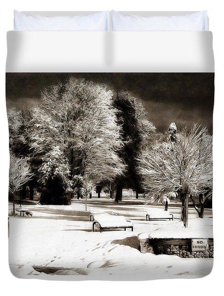 Dark Skies And Winter Park Duvet Cover