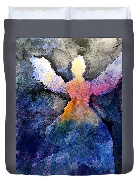 Dark Skies Angel Duvet Cover by Jeanne MCBRAYER