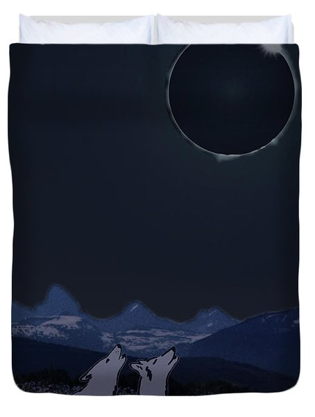 Dark Sky Eclipse Flare Duvet Cover