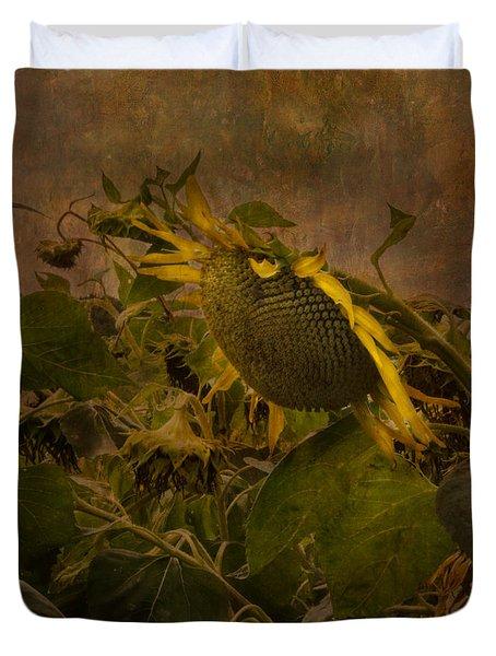 Dark Textured Sunflower Duvet Cover