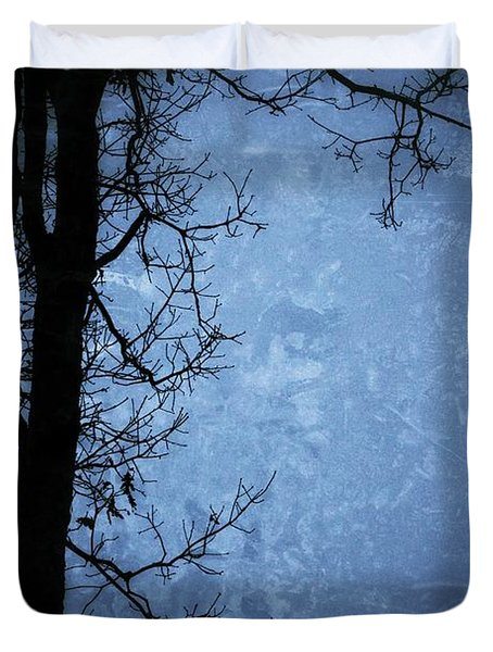 Dark Tree Silhouette  Duvet Cover