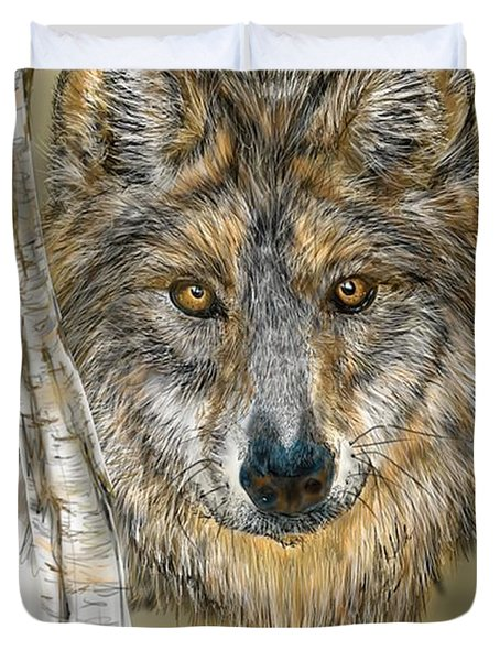 Duvet Cover featuring the digital art Dark Wolf With Birch by Darren Cannell