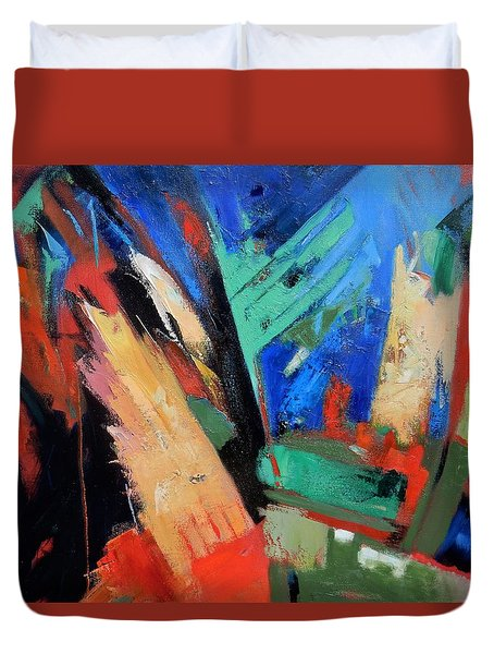 Duvet Cover featuring the painting Darkness And Light by Gary Coleman