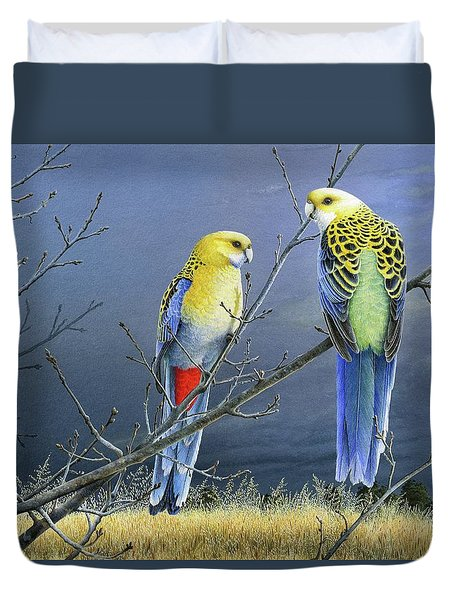 Darkness Before The Deluge - Pale-headed Rosellas Duvet Cover
