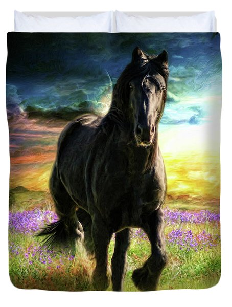 Duvet Cover featuring the digital art  Darkness Descending by Trudi Simmonds