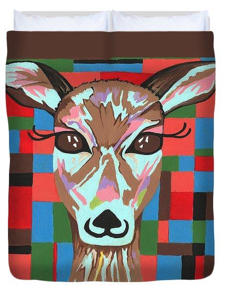 Duvet Cover featuring the painting Darling Deer by Kathleen Sartoris