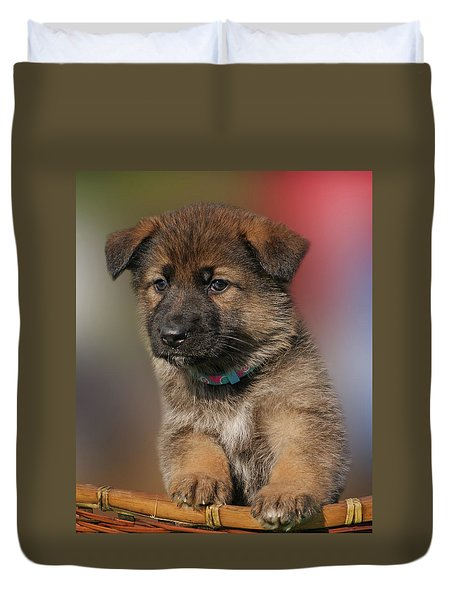 Duvet Cover featuring the photograph Darling Puppy by Sandy Keeton