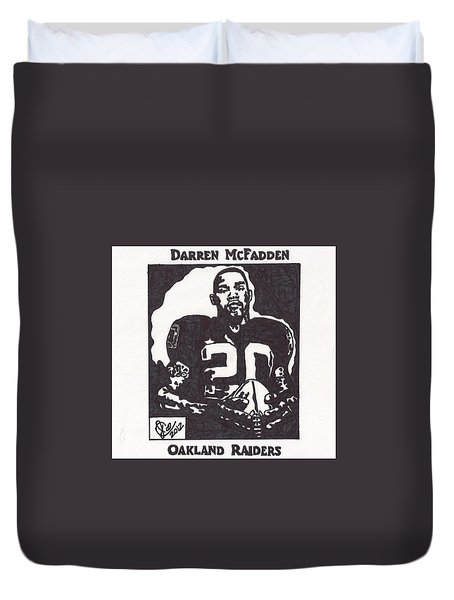 Duvet Cover featuring the drawing Darren Mcfadden 2 by Jeremiah Colley