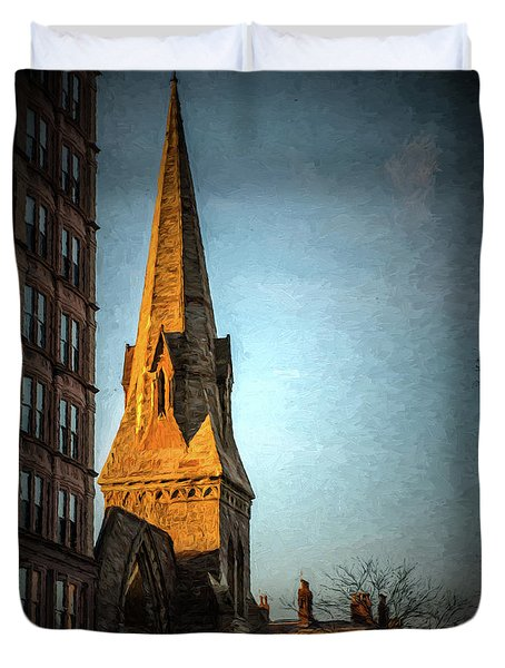 Dartmouth Street In Boston Duvet Cover