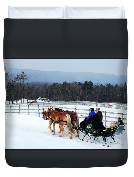 Duvet Cover featuring the photograph Dashing Through The Snow by James Kirkikis