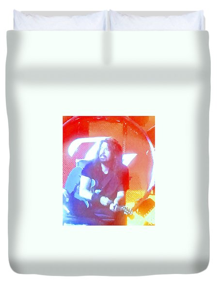 Dave Grohl In Concert Duvet Cover by Cindy Lee Longhini