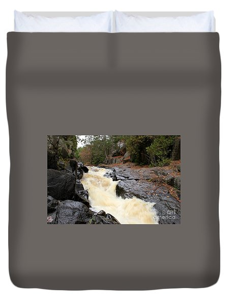 Duvet Cover featuring the photograph Dave's Falls #7284 by Mark J Seefeldt