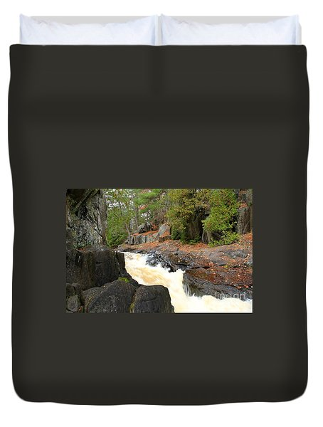 Duvet Cover featuring the photograph Dave's Falls #7311 by Mark J Seefeldt
