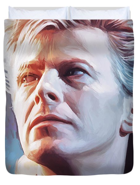 Duvet Cover featuring the painting David Bowie Artwork 2 by Sheraz A