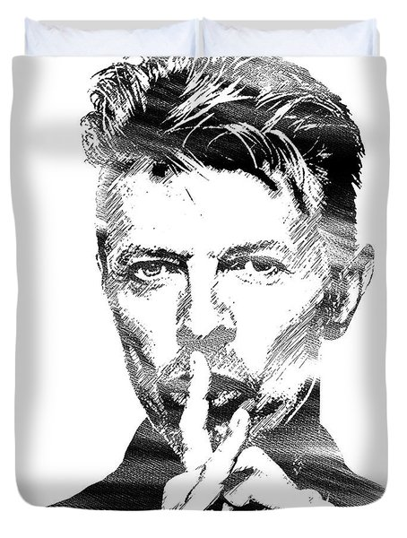 David Bowie Bw Duvet Cover by Mihaela Pater