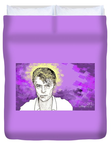 Duvet Cover featuring the drawing David Bowie by Jason Tricktop Matthews