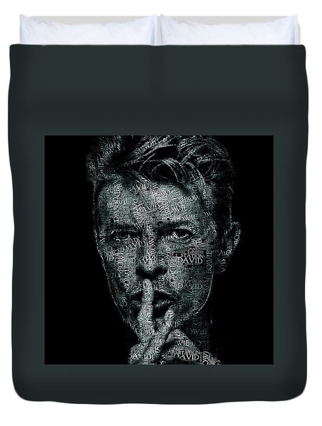 David Bowie Text Portrait - Typographic Face Poster Created With All The Album Titles By David Bowie Duvet Cover