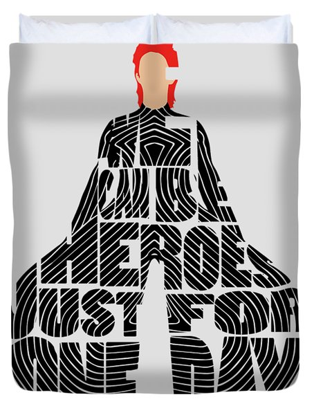 David Bowie Typography Art Duvet Cover