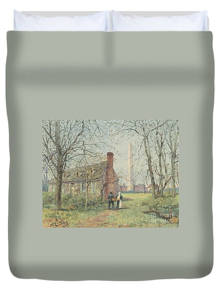 David Burns's Cottage And The Washington Monument, Washington Dc, 1892  Duvet Cover