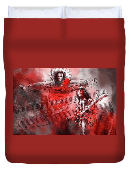David Lee Roth And Eddie Van Halen Jump Duvet Cover by Miki De Goodaboom