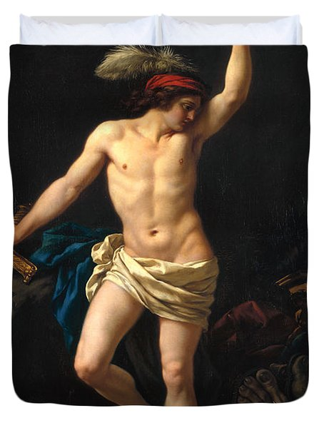 David Victorious Duvet Cover by Jean Jacques II Lagrenee