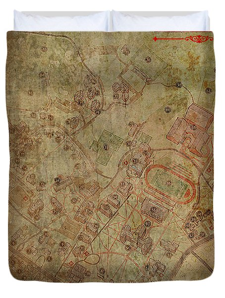 Davidson College Map Duvet Cover