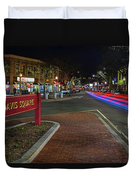 Davis Square Sign Somerville Ma Mikes Duvet Cover