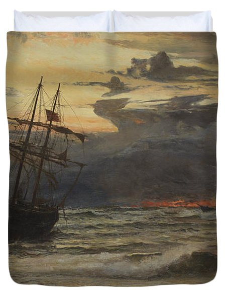 Dawn After The Storm Duvet Cover by William Lionel Wyllie