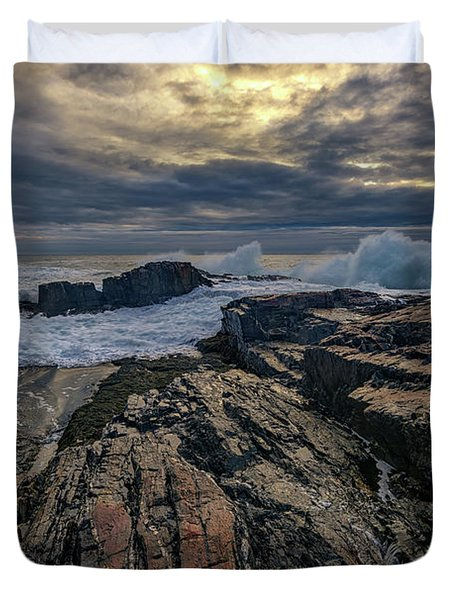 Duvet Cover featuring the photograph Dawn At Bald Head Cliff by Rick Berk