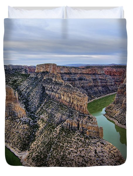 Dawn At Devils Overlook Bighorn Canyon Duvet Cover