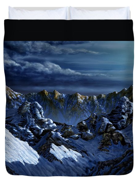 Duvet Cover featuring the digital art Dawn At Eagle's Peak by Curtiss Shaffer