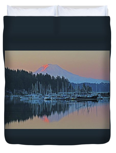 Duvet Cover featuring the photograph Dawn At Gig Harbor by Jack Moskovita