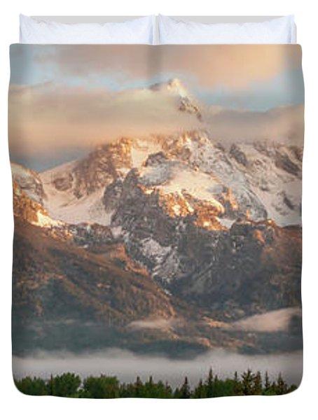 Dawn At Grand Teton National Park Panorama Wyoming Duvet Cover