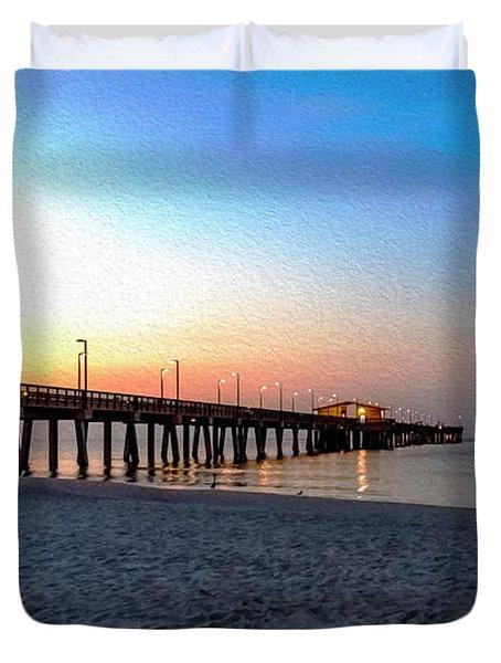 Dawn At Gulf Shores Pier Al Seascape 1283a Digital Painting Duvet Cover
