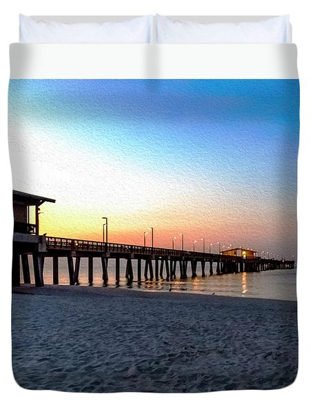 Dawn At Gulf Shores Pier Al Seascape 1283a Digital Painting Duvet Cover