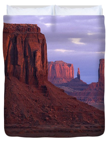 Dawn At Monument Valley Duvet Cover by Sandra Bronstein