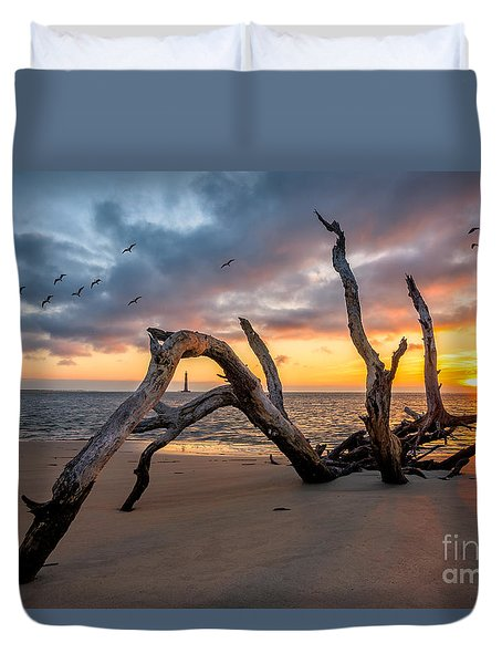Dawn At Morris Lighthouse Duvet Cover