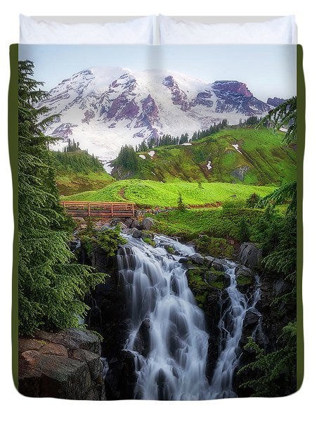 Dawn At Myrtle Falls Duvet Cover