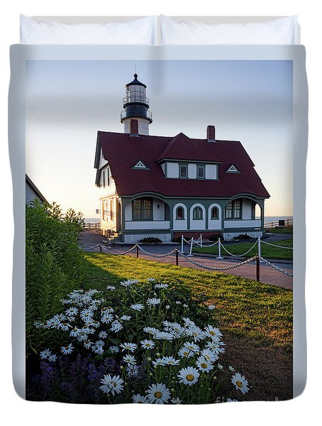 Duvet Cover featuring the photograph Dawn At Portland Head Light, Cape Elizabeth, Maine  -08614 by John Bald