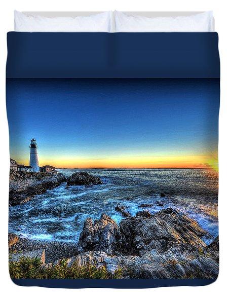 Dawn At Portland Head Lighthouse Duvet Cover