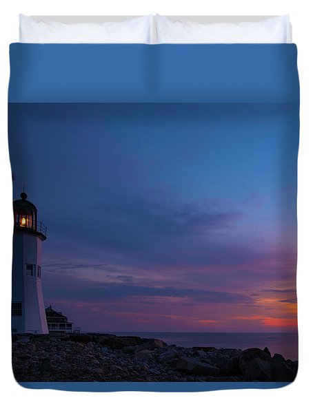 Dawn At Scituate Light Duvet Cover