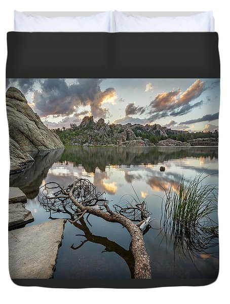 Duvet Cover featuring the photograph Dawn At Sylvan Lake by Adam Romanowicz