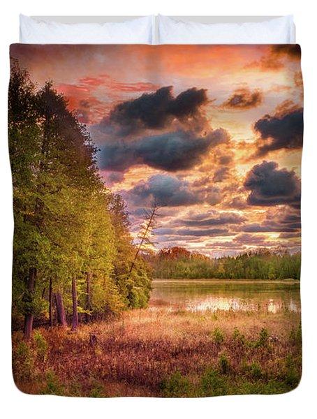 Dawn At The Lake Duvet Cover
