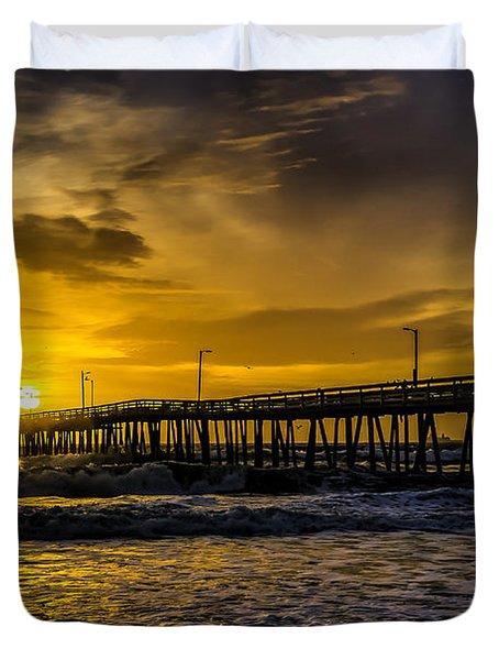 Dawn At The Virginia Pier Duvet Cover