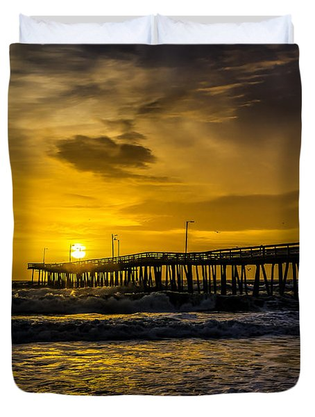 Dawn At The Virginia Pier Duvet Cover by Nick Zelinsky