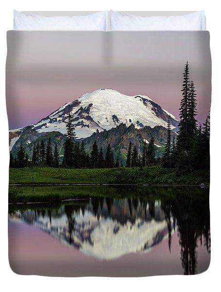 Duvet Cover featuring the photograph Mount Rainier Alpenglow At Tipsoo Lake by Pierre Leclerc Photography